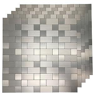Art3d 5 Piece Peel and Stick Tile Metal Backsplash for Kitchen, Silver Aluminum Surface
