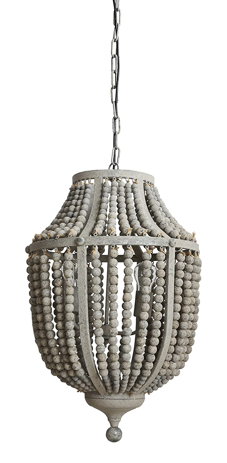 Amazon creative co op da6697 garden grey wood bead metal amazon creative co op da6697 garden grey wood bead metal chandelier home kitchen aloadofball Image collections