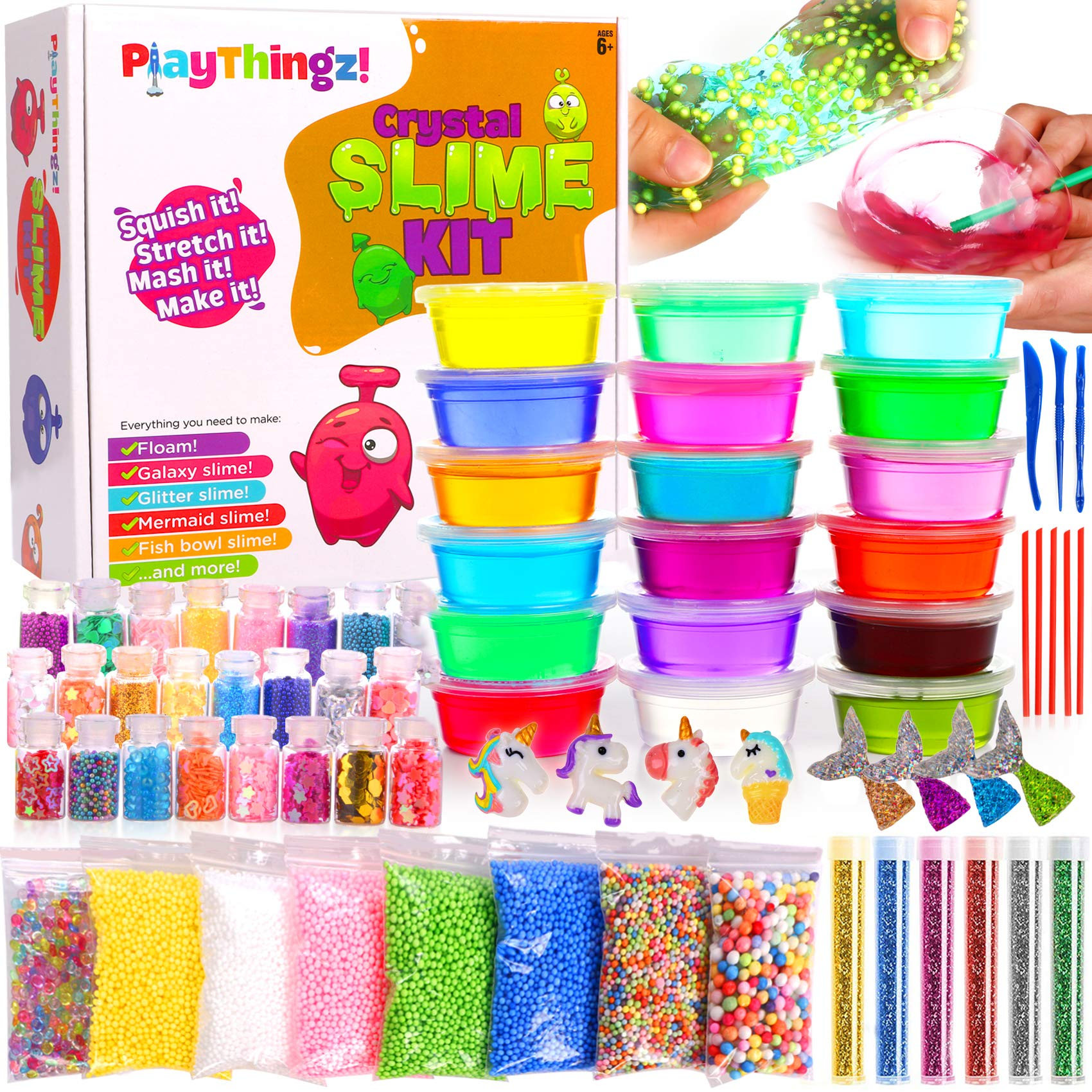 DIY Slime Kit for Girls Boys - Ultimate Slime Making Kits - Slime Supplies - 18 Slime Containers add ins Floam beads, Glitter, Galaxy, Mermaid, Fishbowl Crunchy Unicorn Clear Slime-Fun for Kids Party by PlayThingz