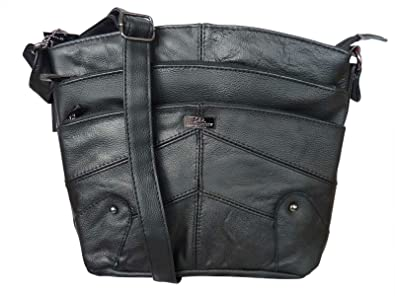 fc4a1fffc1b6 Soft Leather Shoulder Handbag - Multi Zipped Pocket Handbags - Cross Body  Style Bags - Single