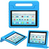 MoKo Case for All-New Amazon Fire HD 10 Tablet (7th Generation, 2017 Release) - Kids Shock Proof Convertible Handle Light Weight Super Protective Stand Cover Case for Fire HD 10.1 Inch Tablet, BLUE
