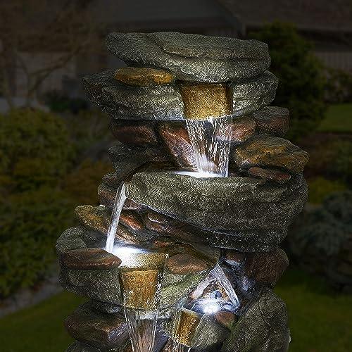 elify Outdoor 5-Tier Floor Rack Water Fall Fountain