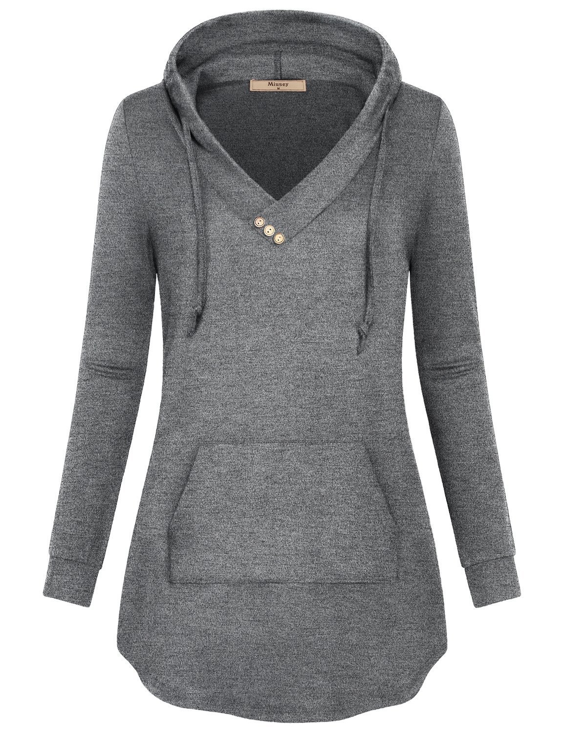 Miusey Women Hoody Shirts,Juniors Crossover Top Sweaters with Button Trim Soft Surroundings Classic Knit Plain Semi-Thin Casual Business Wear for Fall Light Grey L