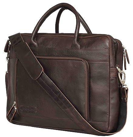 Leaderachi- VT Leather Laptop Briefcase Bag [Bremen, Dark Brown] <span at amazon