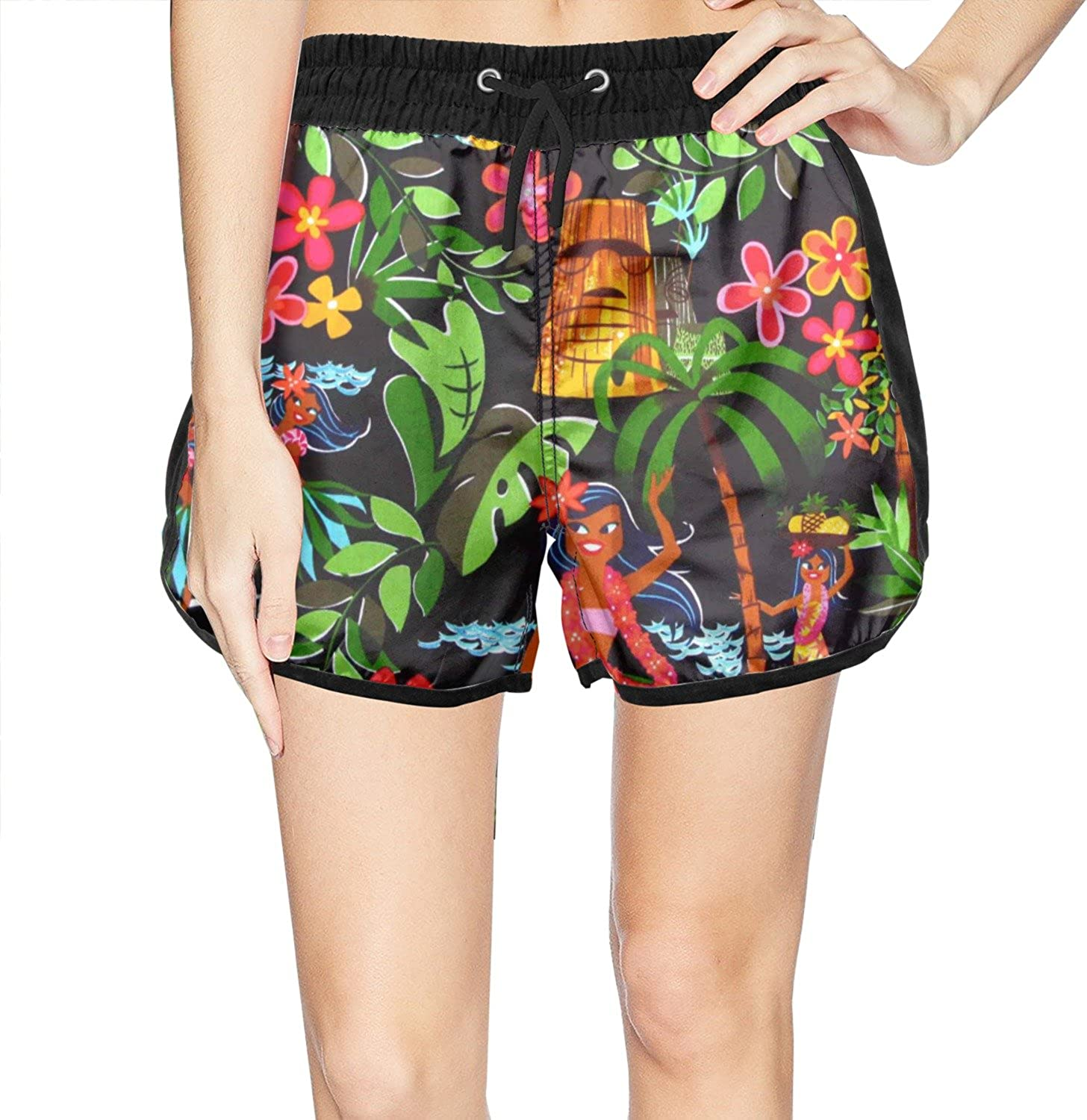 Mens Quick Dry Swim Trunks Polyester Abstract Space Elements Pattern Swimsuit with Pockets