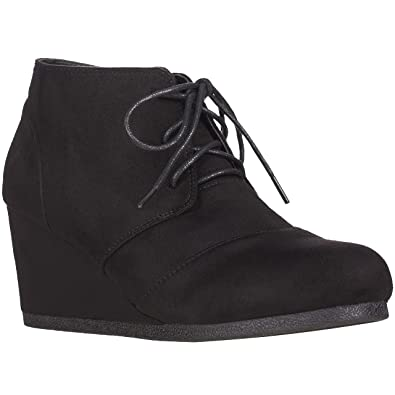 4a7e4a2630894 ILLUDE Women's Round Toe Lace Up Wedge Heels Suede Ankle Boots Booties (6,  Black