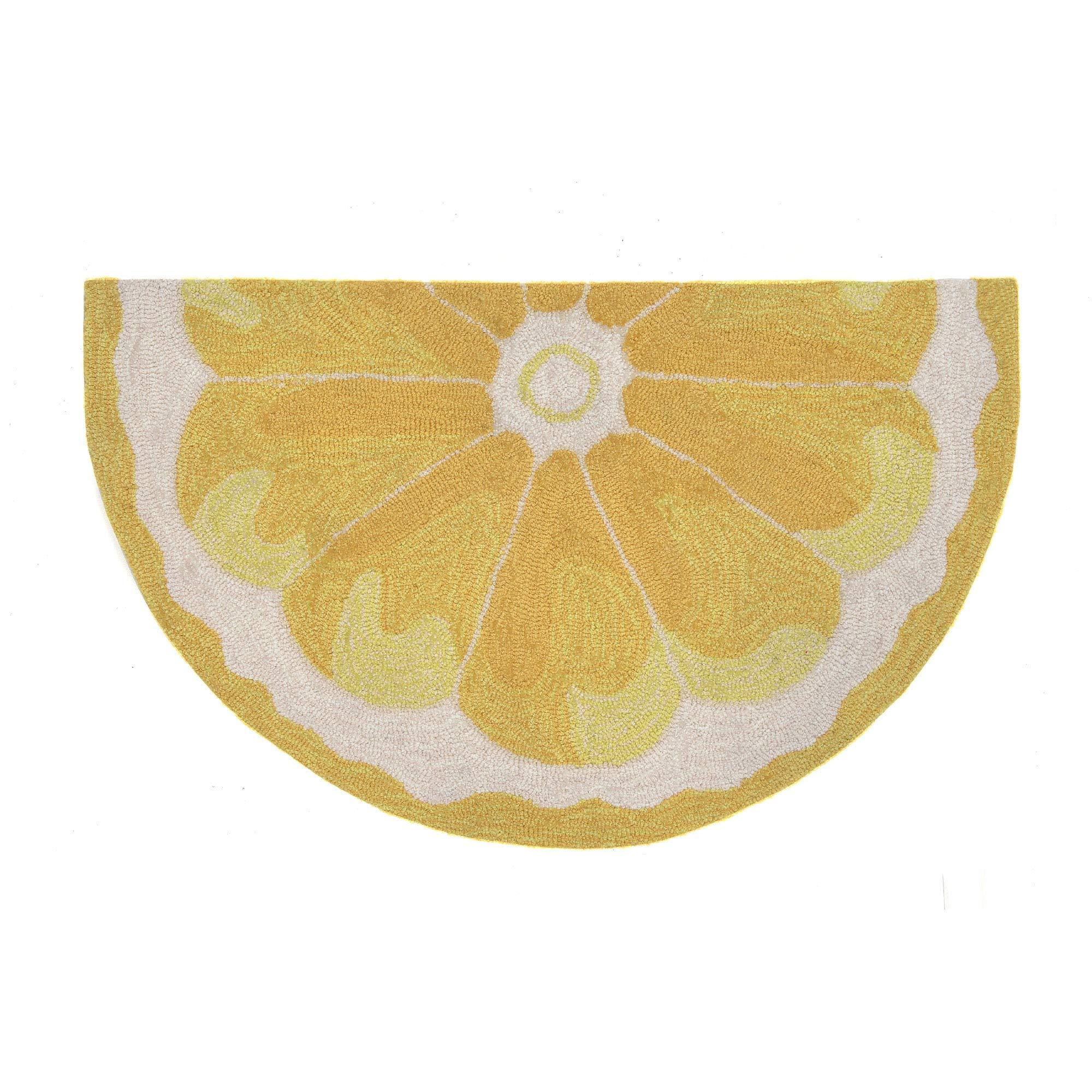 Liora Manne FTPH2155609 Frontporch Front Porch Kitchen Fruit Lemon Slice Yellow Indoor/Outdoor Circle Half Round Rug, 2' X 3'' 1/2 RD, Gold and White