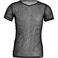 iiniim Men's Mesh Short Sleeve T-Shirt Tank Vest Fishnet Clubwear