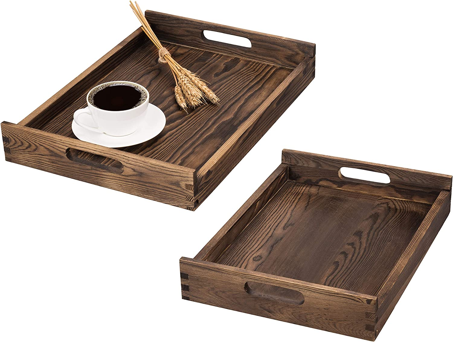 MyGift Dark Brown Solid Wood Nesting Serving Trays with Cutout Handles, Set of 2