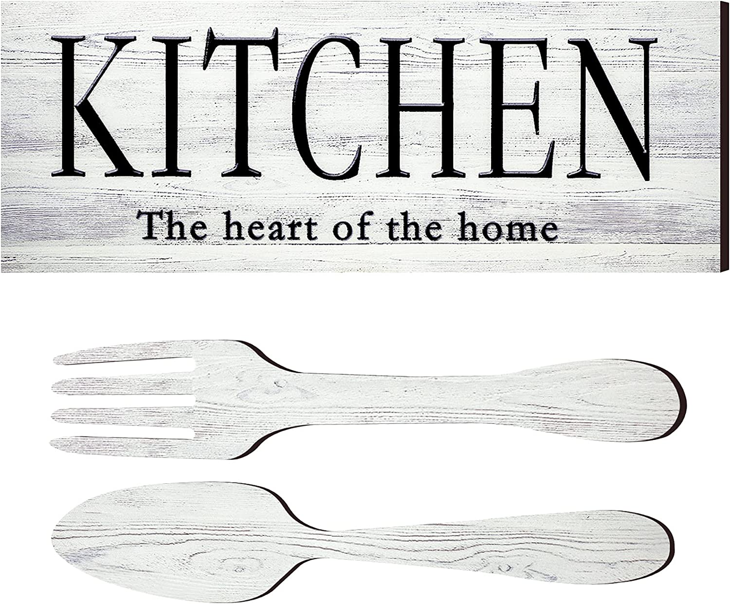 Kitchen Sign Set, Fork and Spoon Wall Decor Kitchen The Heart of The Home Sign Wood Rustic Kitchen Decoration Farmhouse Kitchen Wall Decor for Home Dining Room Housewarming Kitchen Decor (White)