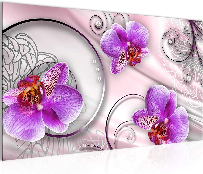 Cuadro de flores orquídeas de pared de fieltro – Lienzo XXL Formato imágenes de pared Salón Decoración Impresión Arte Violeta 1 pieza – Fabricado en Alemania – listo para colgar 208314a