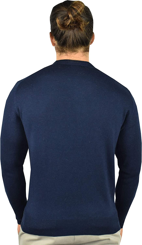 1stAmerican Maglia Girocollo in Cashmere e Seta da Uomo Manica Lunga - Pullover Invernale Finezza 14 Blue Medio Melange