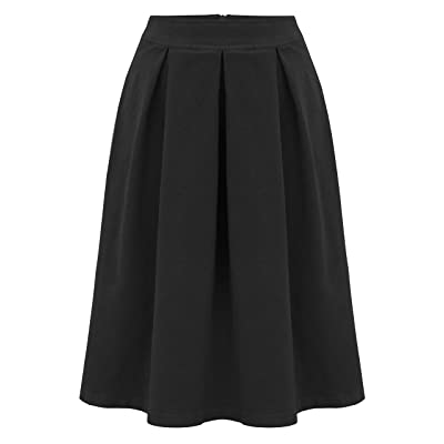 Baby'O Women's Retro Pleated Ultrasoft Plush Stretch Corduroy Skirt