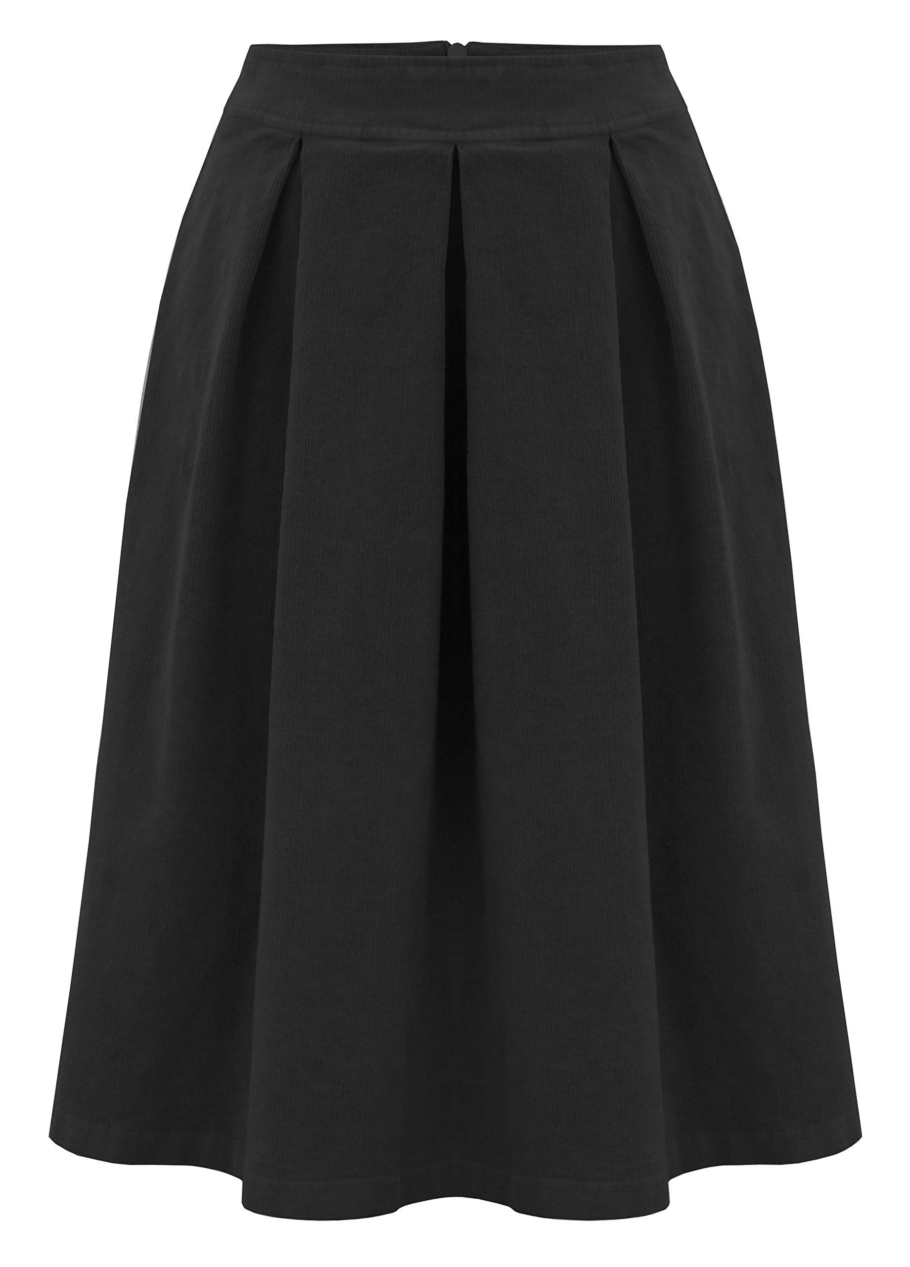 Baby'O Women's Retro Pleated Ultrasoft Plush Corduroy Skirt, black, m