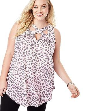 00087c884d8 Roamans Women's Plus Size Cutout Swing Tunic Tank - Pink Animal Print, ...