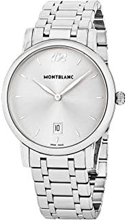 Montblanc Star Classique Date Mens Stainless Steel Designer Luxury Watch - 39mm Analog Silver Face Sapphire