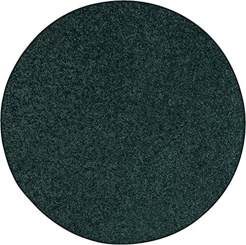 Ambiant Broadway Collection Pet Friendly Area Rug Forest Green, 12 Round with Non Slip Backing