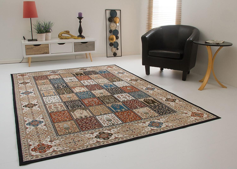 Levante Ghoum Felder Teppich dünn Orient Design Wohnzimmerteppich in Creme Beige, Größe  160x230 cm