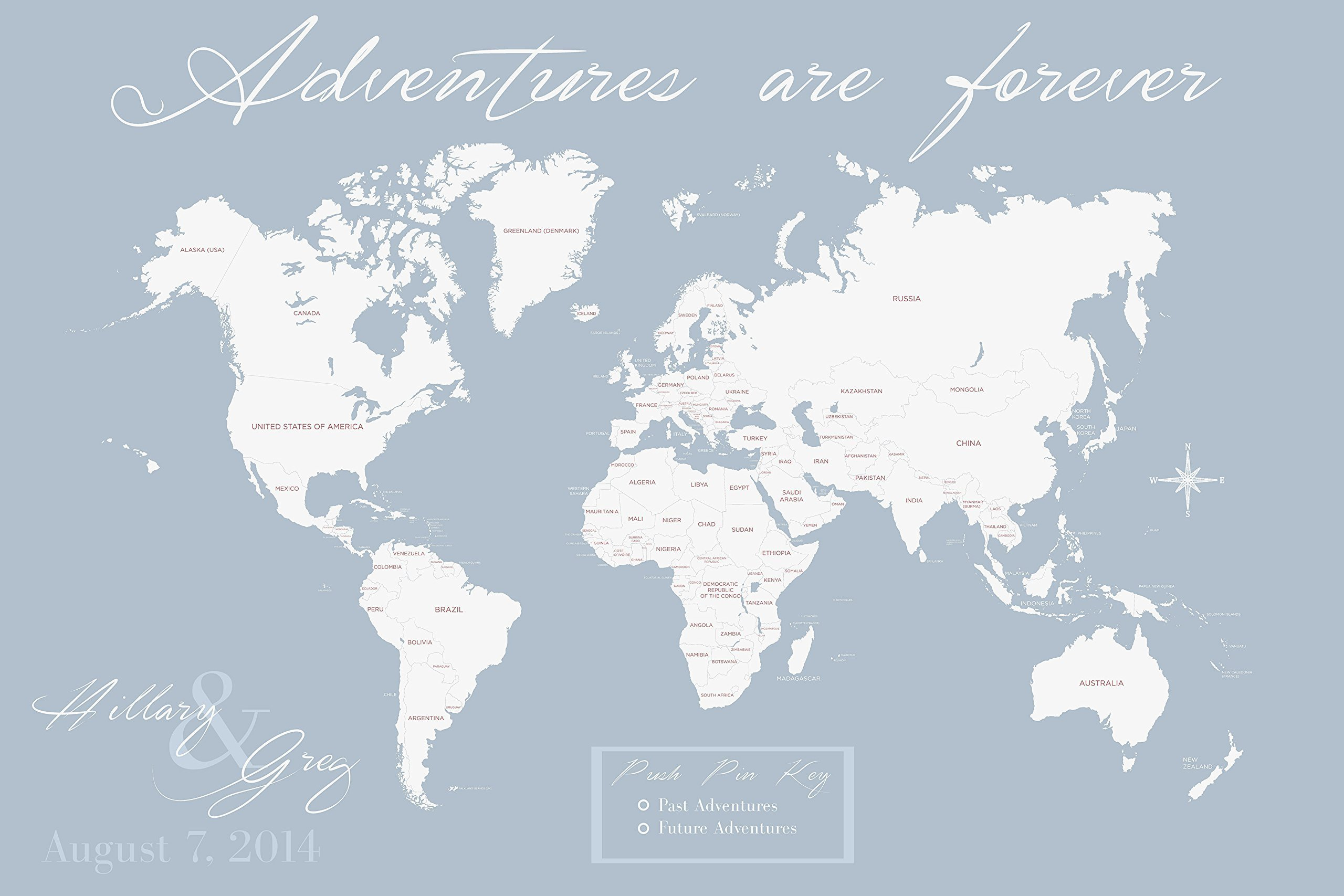 Personalized World Map Push Pin Map On Canvas World Travel Map Personalized Wedding Gift by Artist Amber McDowell by amberpaints4you