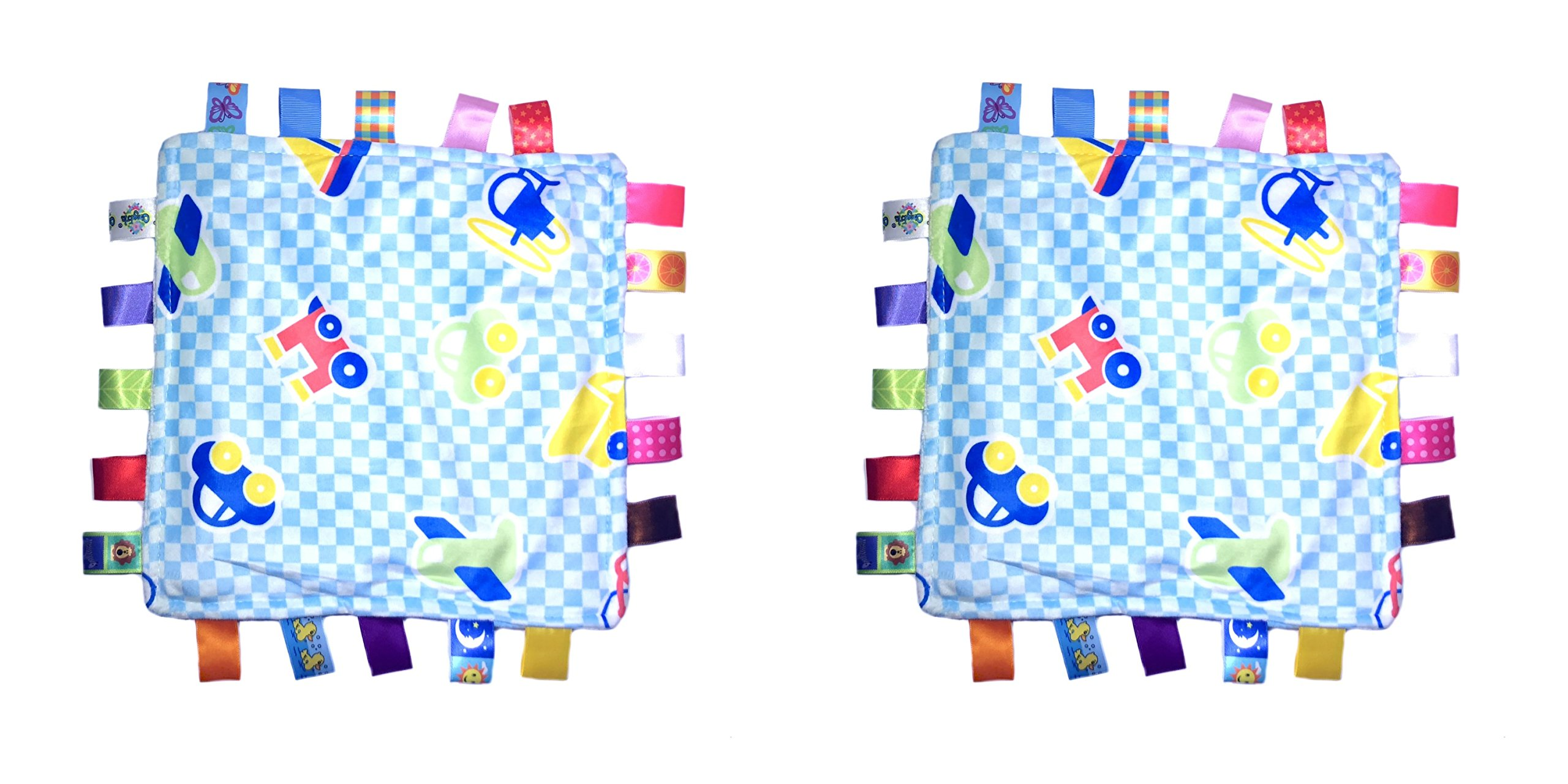 Little Tag Style Colors Security Comforting Teether Blanket - Blue Vehicle Theme 2-Pack Gift Set
