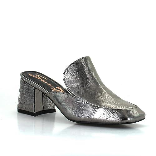42310dfa77b Seven7 Women's Meghan Square Toe Mules Chunky Heel Slip On Dress Shoes