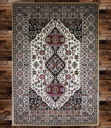 KILIM Boho Bohemian Beige Bokara Vintage Style K608 Area Rug Clearance Soft and Durable Pile. Size Option , 5 X7