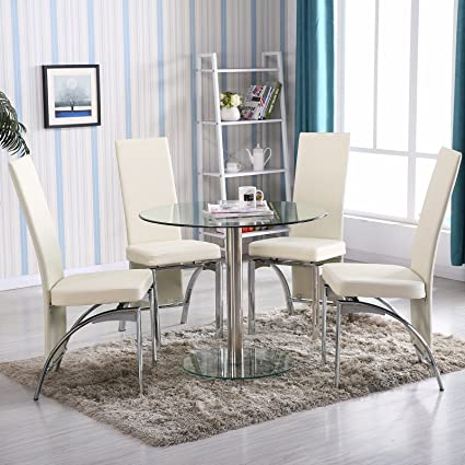 Mecor 5 PC Round Glass Dining Table Set With 4 Chairs Kitchen Furniture