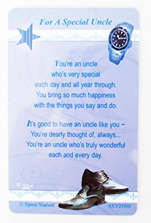 Special Uncle Keepsake Wallet Card Love Niece Nephew Verse Him Birthday Gift