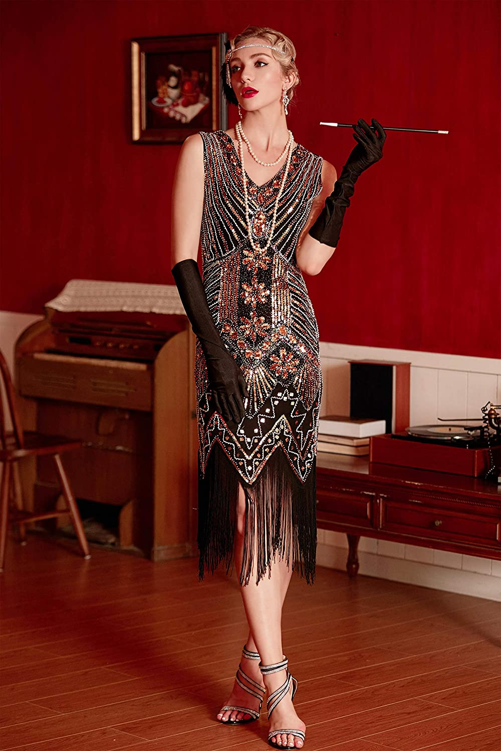 Charleston Dress: Fringe Flapper Dress Metme Womens Flapper Dress 1920s V Neck Beaded Fringed Gatsby Theme Roaring 20s Dress for Prom $57.99 AT vintagedancer.com
