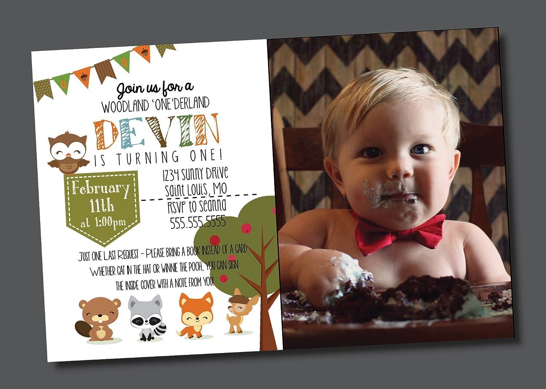 Customized Birthday Invitation First Birthday Woodland Creatures Animals Toddler Personalized