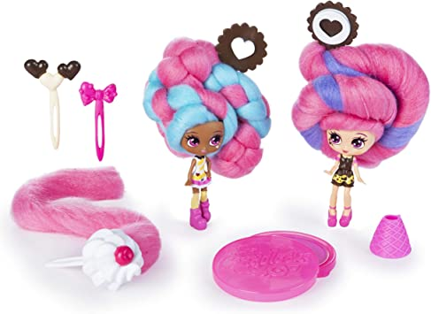 Candylocks BFF 2 Pack, 3-Inch Cora Crème & Charli Chip, Scented Collectible Dolls with Accessories