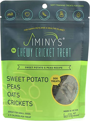 Jiminy s Cricket Protein Sweet Potato and Pea Soft Chewy Dog Training Treats 100 Made in The USA Gluten-Free Sustainable Limited Ingredients High Protein Hypoallergenic