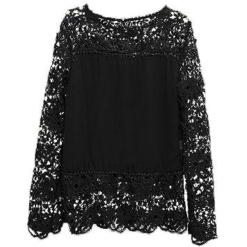 SODIAL(R) Camisas de manga larga de ganchillo hueco flor chiffon encaje negro de