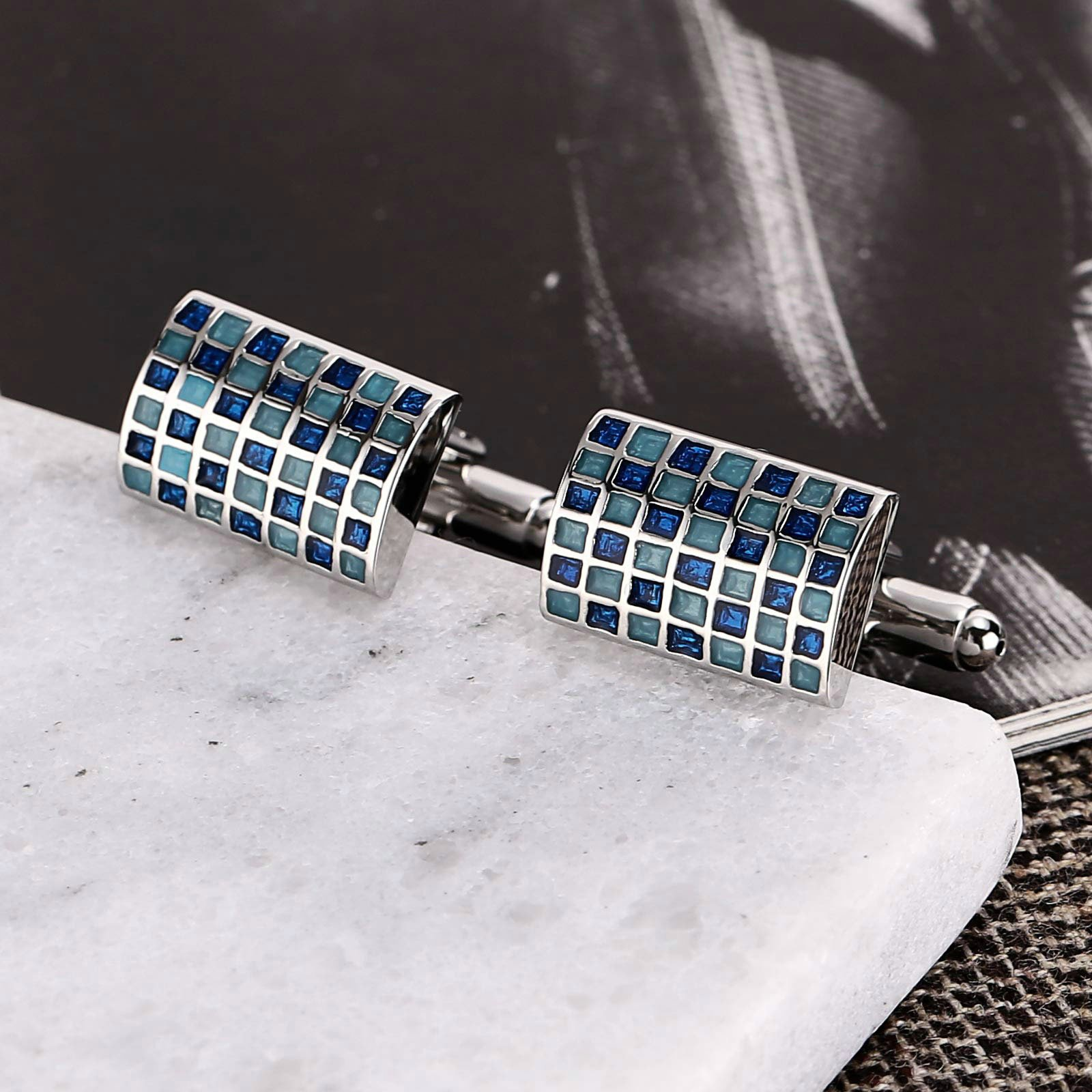 Gnzoe Stainless Steel Men's Shirt Cuff Links Business Wedding Grid 2-Color Construction Blue by Gnzoe (Image #3)