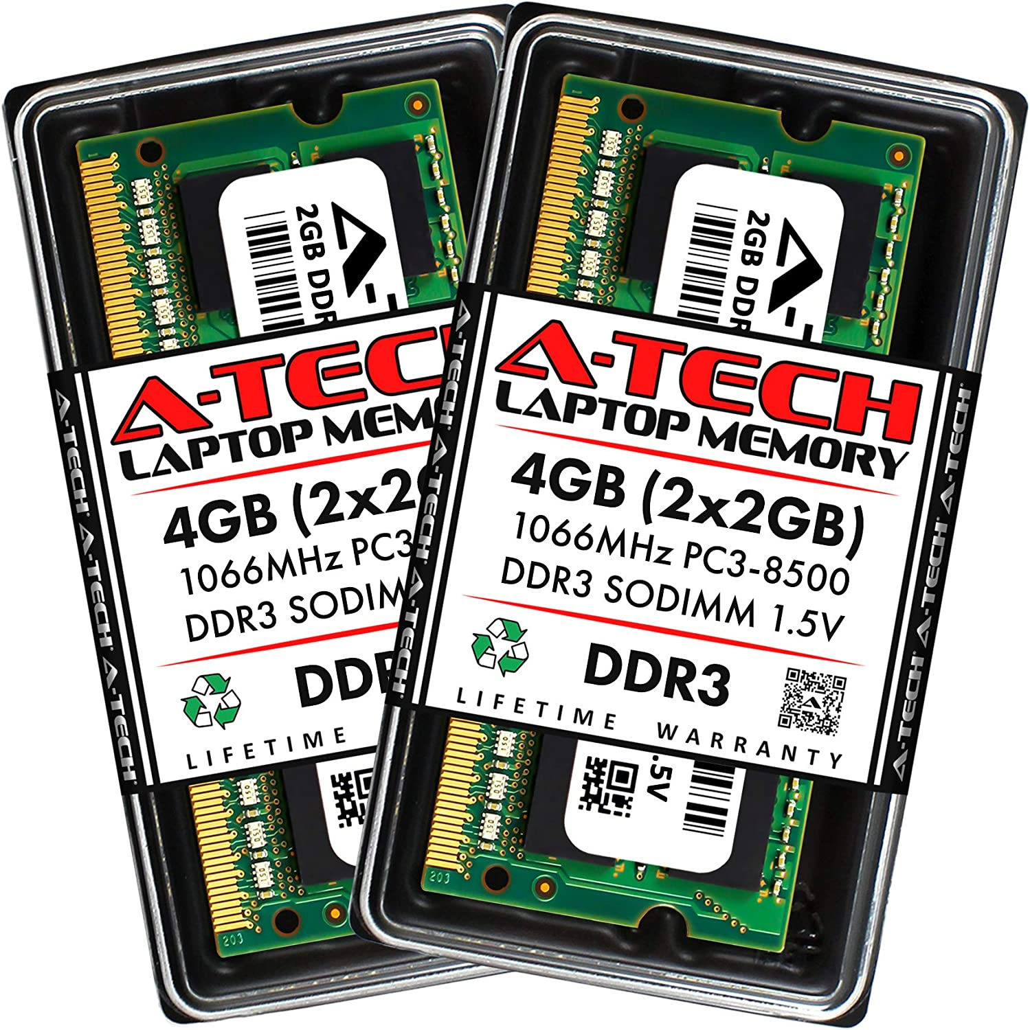 A-Tech 4GB (2 x 2GB) DDR3 1066MHz PC3-8500 Laptop RAM SODIMM Kit | Non-ECC Unbuffered 204-Pin Memory Upgrade Modules