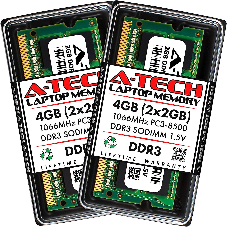 A-Tech 4GB (2 x 2GB) DDR3 1066MHz PC3-8500 Laptop RAM SODIMM Kit | Non-ECC Unbuffered 204-Pin Memory Upgrade Modules