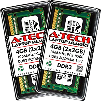 A-Tech 4GB RAM for ACER Aspire AS7750G-6669 DDR3 1066MHz SODIMM PC3-8500 204-Pin Non-ECC Memory Upgrade Module