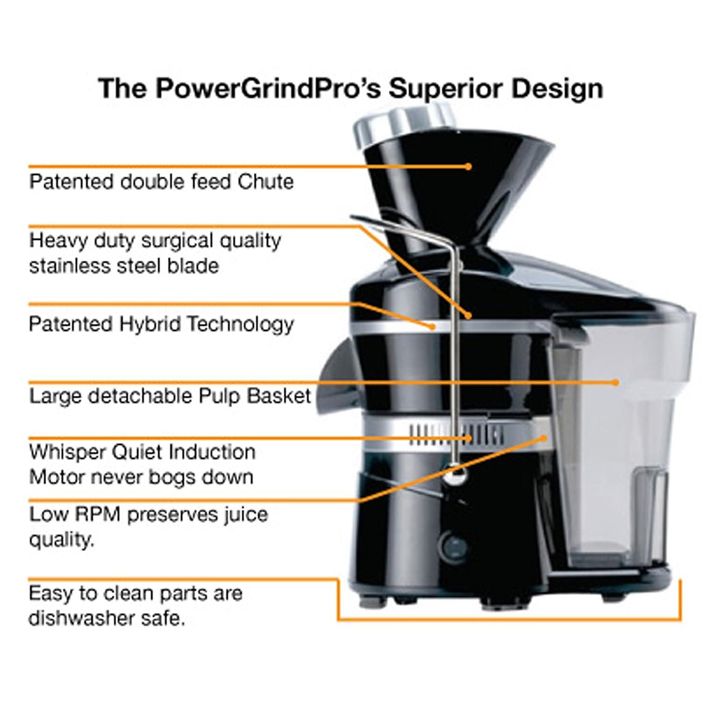 PowerGrind Pro PGP001-WHSL Exprimidor eléctrico de larga duración ...