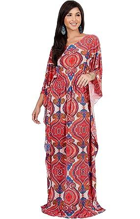 c372ca1f5e9 KOH KOH Womens Long Kaftan Boho Print Jersey Flowy Casual Abaya Gown Maxi  Dress at Amazon Women s Clothing store