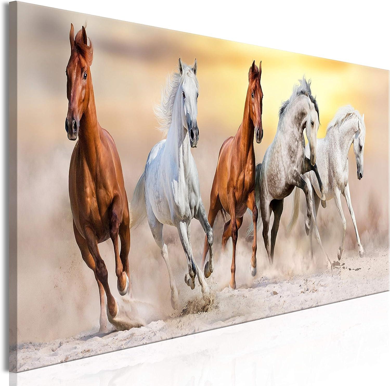 murando Cuadro en Lienzo Animales 135x45 cm 1 Parte Impresión en Material Tejido no Tejido Impresión Artística Imagen Gráfica Decoracion de Pared - Caballos Galope Salvaje g-C-0224-b-a