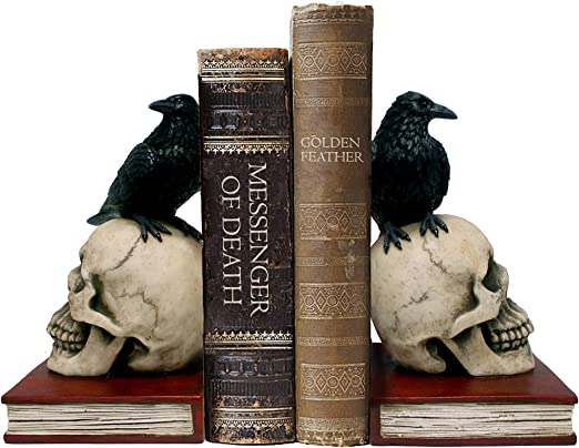raven skull bookend gothic library