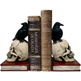 DWK - Murder & Mystery - Ravens on Skulls Bookends Gothic Poe Crow Reading Bookshelf Library Home Décor Book Shelf Accent, 8.5-inch