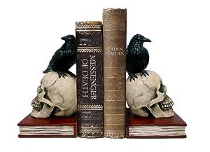 "DWK 8.5"" Murder & Mystery Raven on Skull Bookends Gothic Crow Reading Bookshelf Library Decor"