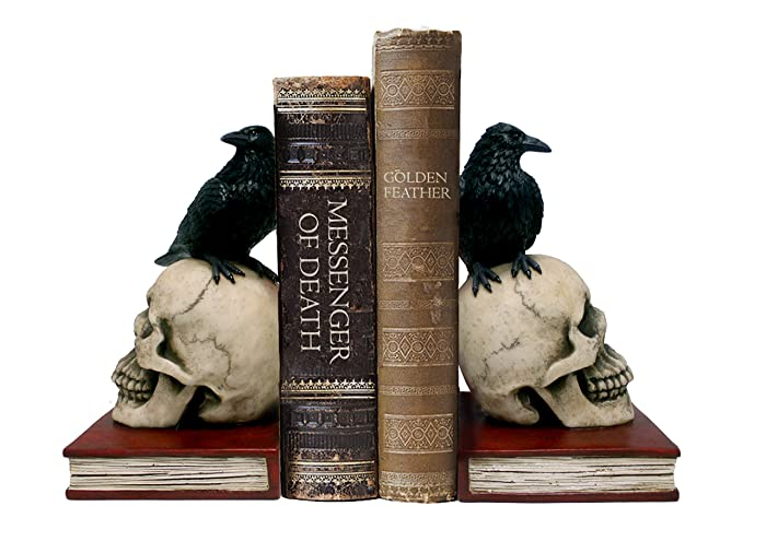 "DWK 8.5"" Murder & Mystery Raven on Skull Bookends Gothic Crow Reading Bookshelf Library Decor"