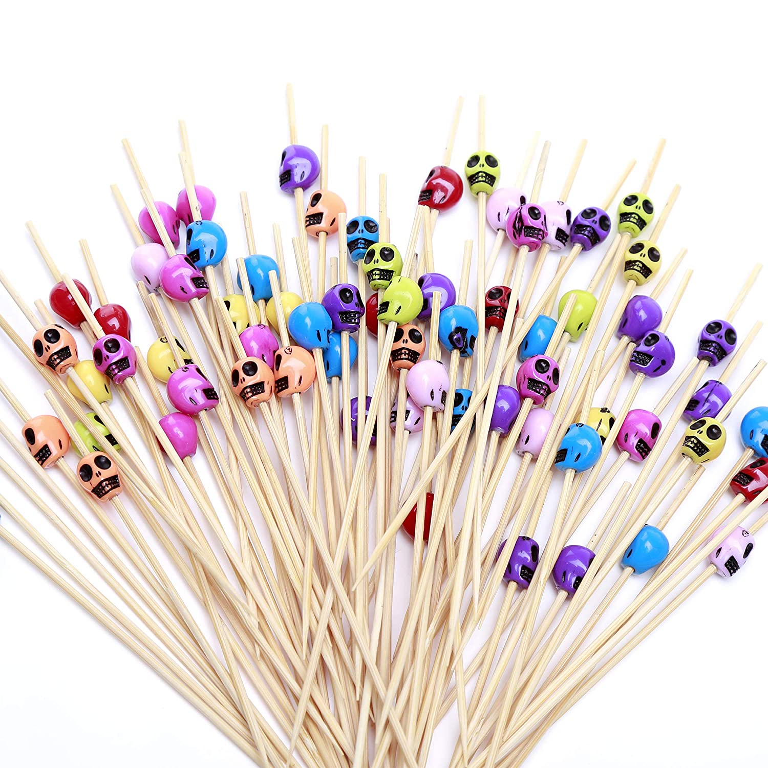 Cocktail Picks 100 Counts Skeleton Sticks Wooden Toothpicks Cocktail Sticks Halloween Party Supplies - Skeleton by HakunaMatata