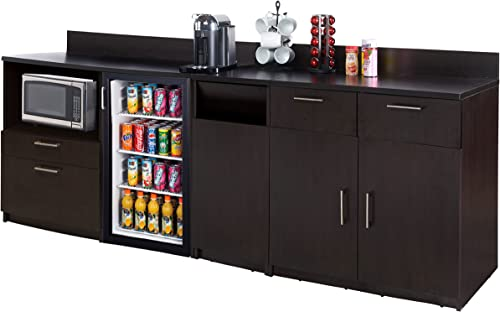Coffee Kitchen Lunch Break Room Furniture Cabinets Fully Assembled Ready to Use 3pc Group Model 3295 Color Espresso – Instantly Create Your New Break Room Note Purchase Includes Furniture ONLY .