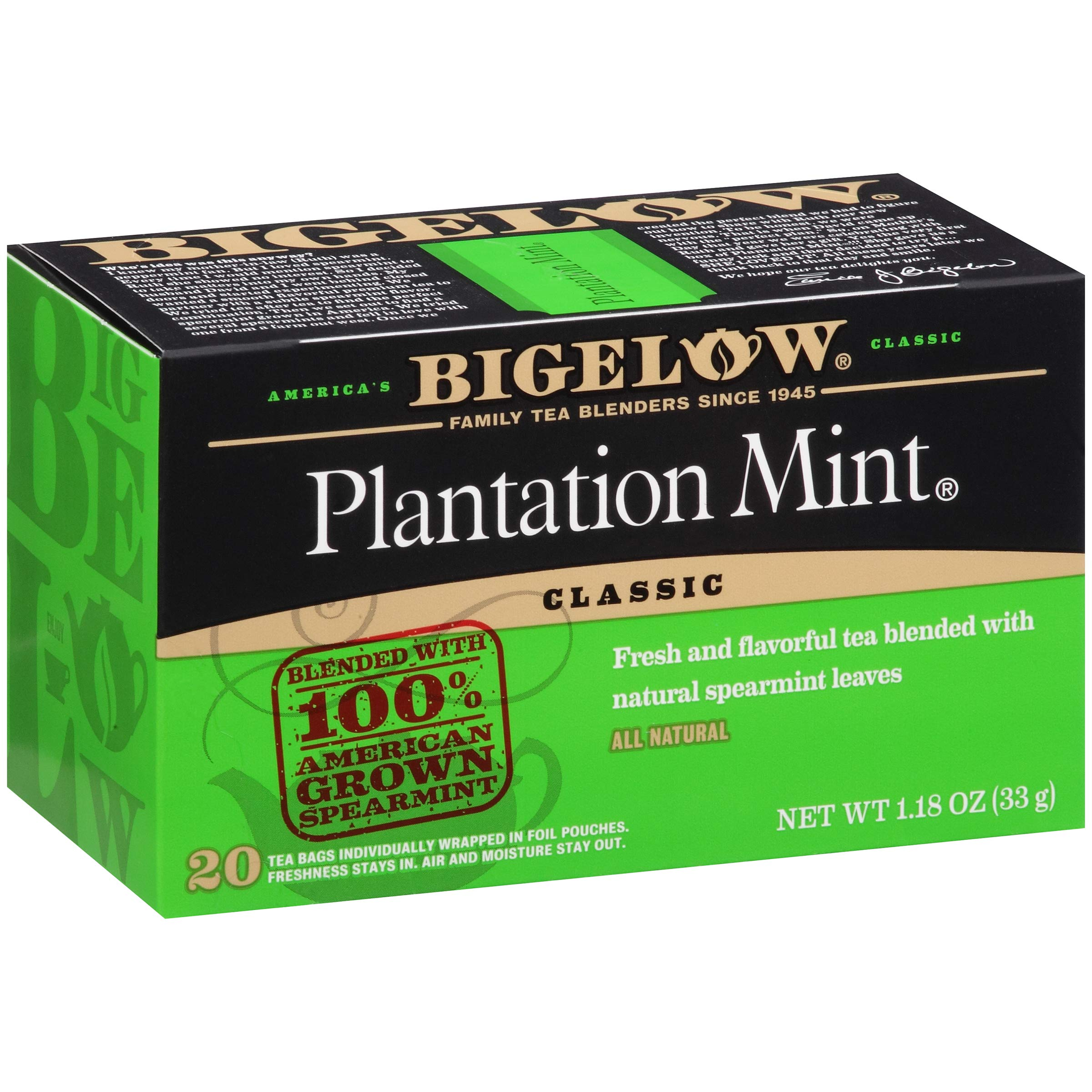 Bigelow Plantation Mint Black Tea Bags 20-Count Boxes (Pack of 6), 120 Tea Bags Total.  Caffeinated Individual Black Tea Bags, for Hot Tea or Iced Tea, Drink Plain or Sweetened with Honey or Sugar by Bigelow Tea