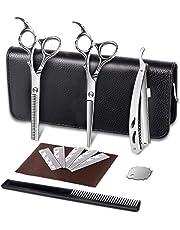 "LingsFire Hair Cutting Scissors 6"" Barber Scissors Kit Hair Shears Thinning Texturizing Set Barber Razor Edge Shears Stainless Steel Scissors/Shears Mustache Scissors with Adjustment Screw (Black)"