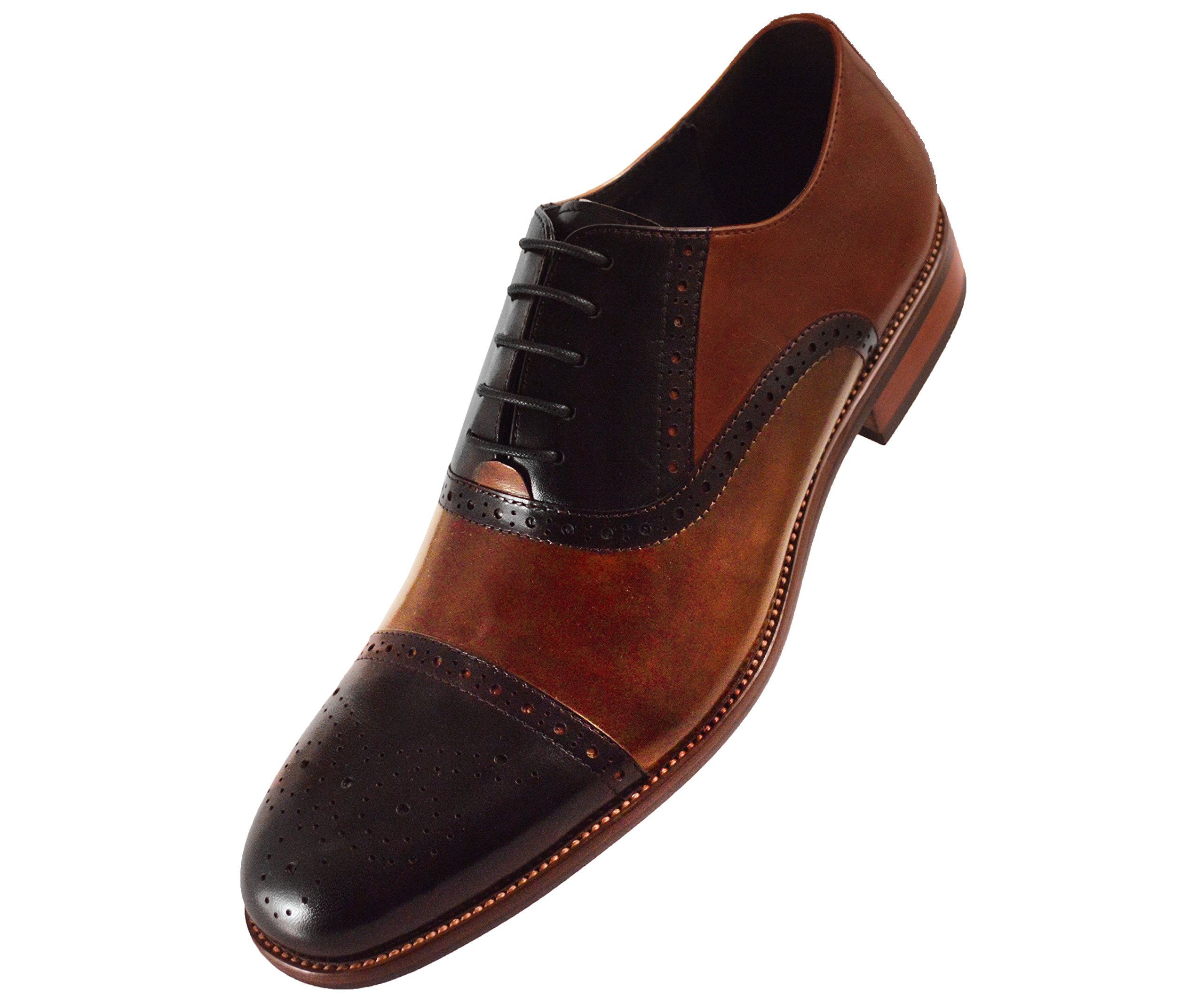 Asher Green Mens Two Tone Stitched Leather Cap Toe Oxford Dress Shoes