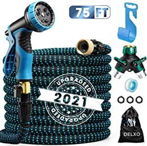"""75ft Expandable Garden Hose Flexible Water Hose in 9 Functions, Heavy Duty with 3/4"""" Brass Fittings, High-Pressure Metal Spray Nozzle - Blue"""